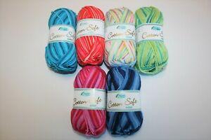Rellana Cotton Soft color  Baumwolle 50 g Häkeln Schulgarn Wolle