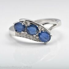 1.14TCW Oval Blue Sapphire Diamond Three Stone Ring Sterling Silver Jewelry UK