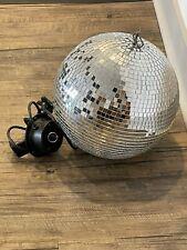 "Large Vintage Disco Glass Tile Mirror Ball 39"" Round Spinning Motor Vintage"