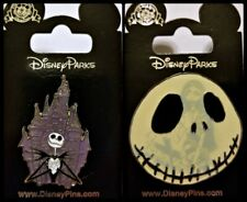 Disney 2 Pin Lot NBC Nightmare BEFORE Christmas JACK + Sally glow-in-the-dark