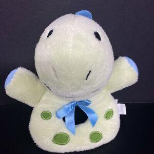 "Koala Baby Green Dinosaur Ring Hand Rattle Plush Spots Blue Bow 5"" Stuffed Lovey"