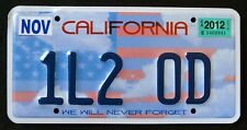 CALIFORNIA * NEVER FORGET - 9/11 - 1L2 OD * CA Specialty Vanity License Plate