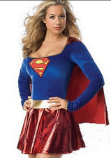 NEW ADULTS SUPERGIRL SUPERMAN SUPERHERO COSTUME FANCY DRESS - LADIES SMALL-MED