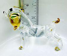 Dog Glass Figurine Crystal Tiny Pet Animal Craft Hand Paint Gift Art Collectible