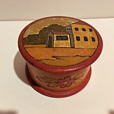 Antique Vintage Folk Art Hand Carved Hand Painted Lathe Turned Round Wood Box
