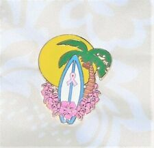 Ribbon Cloisonne Breast Cancer Awareness Pin Coconut Tree + Surfboard with Pink