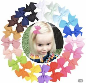 Girls hair bow clips 2.2 inches pairs of bow clips for babies toddlers lot slide