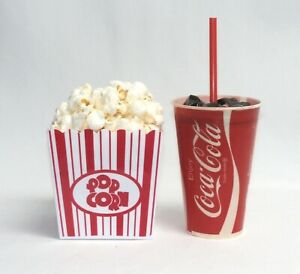 Fake Food movie night drive-in red and white striped popcorn set