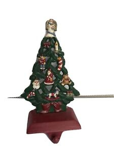 MIDWEST solid CAST IRON Decorated Tree CHRISTMAS Stocking HOLDER Hanger Vintage