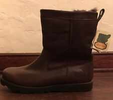 UGG Mens FOERSTER Waterproof Boots STOUT Brown Leather/Suede 14US NWOB $249 MSRP