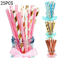 25pcs Colors Foil Striped Paper Drinking Straws Mixed For Party Birthday Decor