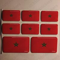 Autocollant Maroc Drapeau 3D Résine Adhésif Relief Autocollants Maroc Voiture