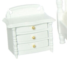 Miniature Dollhouse Nightstand 3 Drawer White 1:12 Scale New