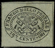 PAPAL ROMAN STATES, 3 CENT. WITH PRINTING ERROR, GREY PAPER, YEAR 1867, MINT