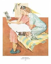 "Norman Rockwell print ""DREAMBOATS!"" 11x15"" STAR STRUCK college Sorority girls"