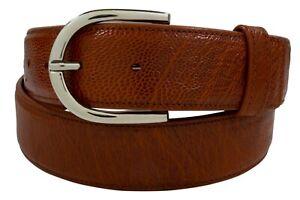 Genuine Handmade Cognac Smooth Ostrich Leather Belt (Made in U.S.A)