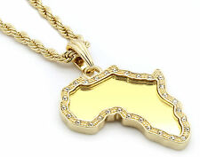 "Mens 14k Gold Plated Africa Continent Mirror Edge Cz Necklace 24"" 4mm Rope Chain"