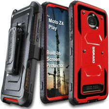 Motorola Z4 / Z4 Play Full Body Case Built-in Screen Protector Belt Clip Red