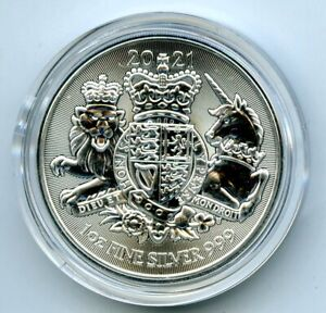2021 2PD GREAT BRITAIN 1OZ .999 SILVER ROYAL ARMS... COMES IN A PLASTIC CAPSULE