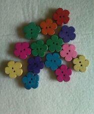 15 Bottoni 2 Fori Tondo in Legno a forma di fiorellino