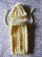 XXXXS handmade knit  Yellow dog Sweater & Hat set