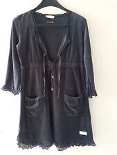 Odd Molly Wunderschönes dunkelgraues Kleid Samtkleid mit vielen  Details Gr 1