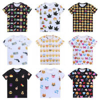 Womens Emoji Printing T-shirt Summer Short Sleeve Casual Tops Blouse Basic Tee