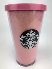 2017 Starbucks Rose Gold Pink Glitter Cold Cup Tumbler 16 oz Grande NO STRAW