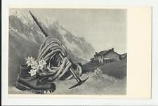 antica cartolina formato piccolo di alpinismo  baita picozza montagna
