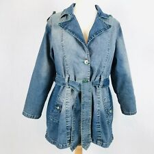 Vezucci Women Distressed Denim Jean Jacket Trench Coat Stretch Plus SZ 2X