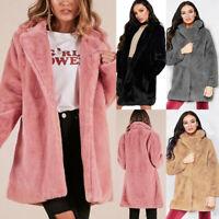 Women Winter Teddy Bear Faux Fur Fluffy Coat Jackets Ladies Solid Jumper Outwear