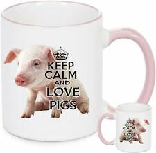 Pig Mug KEEP CALM AND LOVE PIGS. White ceramic mug with pink rim and pink handle