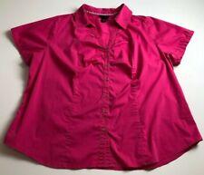 Lane Bryant Women's Short Sleeve Button Up Shirt 24 Plus Pink Casual Career Work