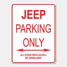 """JEEP Parking Only Street Sign Heavy Duty Aluminum Sign 9"""" x 12"""""""