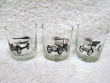 "Lot of 3 Antique Cars 3.5"" Bar Glasses, Chevy, Buick, Cadillac by Delco, Home"