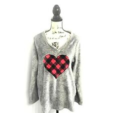 Charter Club Intimates 2XL Sweater Gray V-Neck Plaid Heart Soft Warm Fleece