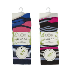 Ladies 3 pack Soft Bamboo Socks Stripes Coloured Heel & Toe size 4-7