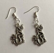 Oriental Dragon Earrings - Silver Plated - Festival - Ibiza Y2K 90s
