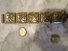 Vintage mesh Whiting & Davis Co pannel flowers gold plated bracelet