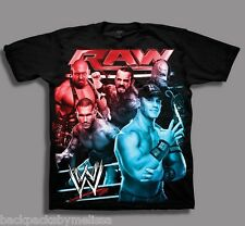 WWE RAW John CENA NeW Black Shirt Boy's 10/12 Rey Mysterio CM Punk Orton Ryback