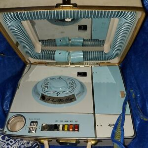 Vintage Sears Deluxe Bonnet Portable Suitcase Hair Nail Dryer Blue Beige WORKS!