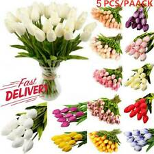 Artificial Tulip Flowers False Fake Bouquet Real Touch Home Wedding Party Decor-