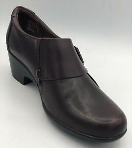 Clarks Collection Burgundy Leather Loafer Style Womens Shoes Size 8.M Value $115