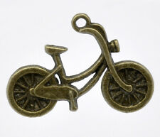 10 Bicycle Antique Bronze Pendant Charms ~ Travel Transport Jewellery making DIY