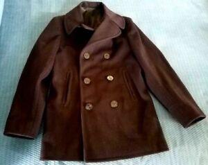 VINTAGE US NAVY Issue Blue Kersey Wool Peacoat Jacket 36R EUC