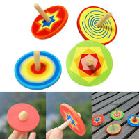 1x Wood Spinning Top Kids Colorful Wooden Gyro Toy Intelligence Classic ToyH U_X