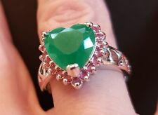 SHIPS FAST!  New! Beautiful Ladies Emerald/Ruby Heart Silver Ring Size 6