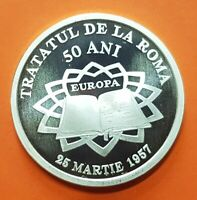 ROMANIA 10 LEI 2007 TREATY OF ROME SILVER COIN 1 Onza proof MINTAGE 500 Tratatul