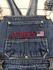 Avirex Overalls Sz 10 Child Denim Blue Jeans Usa Flag Zip Pockets Carpenter