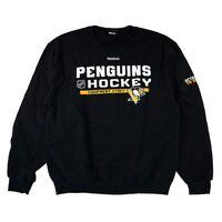 """Pittsburgh Penguins Reebok Authentic Locker """"Equipment Staff"""" Fleece Crew Men's"""